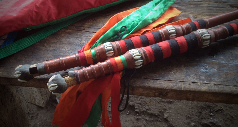Fula flutes on a bench in Conakry